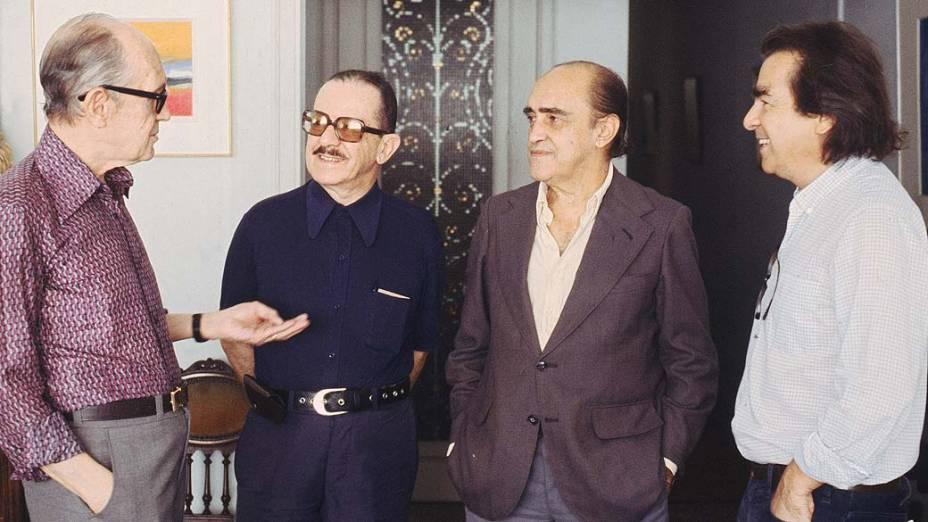 Carlos Drummond, Nélson Werneck, Oscar Niemeyer e Darcy Ribeiro, em 1978