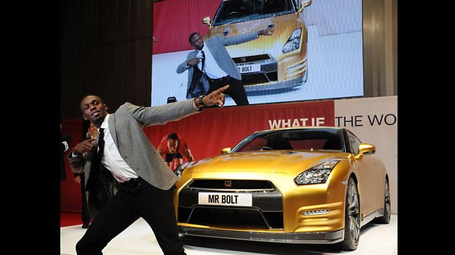 Medalhista de ouro olímpico jamaicano Usain Bolt durante evento na sede da Nissan Motor Co, em Yokohama