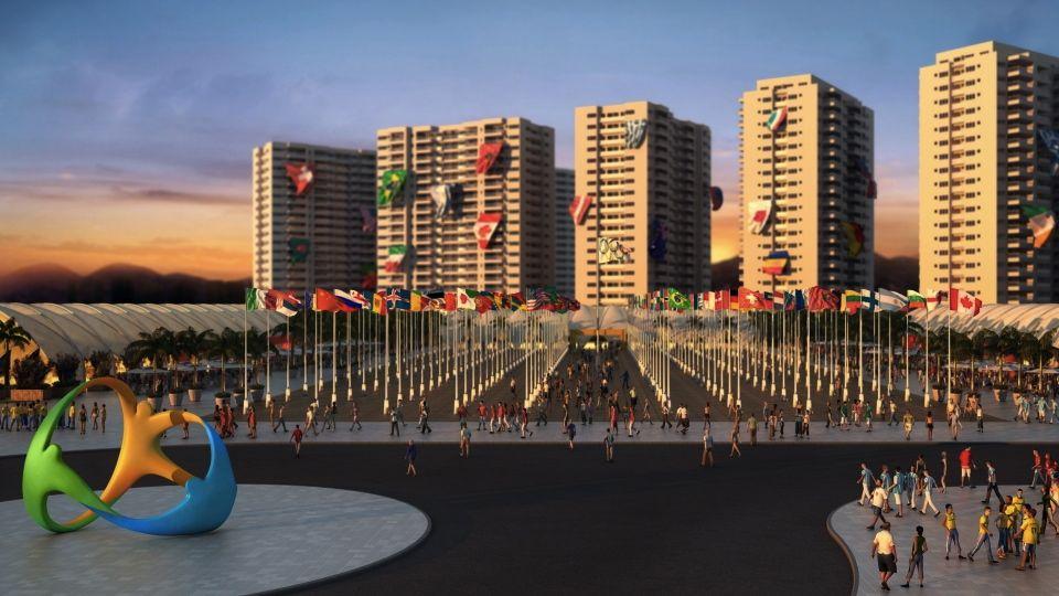 Zona internacional da Vila Olímpica e Paralímpica, onde acontecerão as cerimônias de boas vindas às delegações na Rio-2016