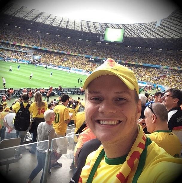 O cantor sertanejo Michel Teló no estádio do Mineirão para o jogo entre Brasil e Alemanha
