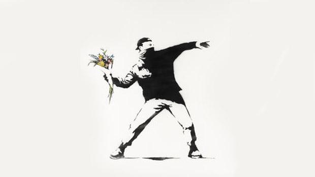 O grafite Love Is in the Air, de Banksy