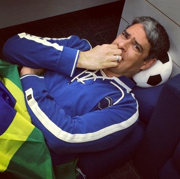 O jornalista William Bonner ansioso para a partida entre Brasil e Alemanha, na Copa do Mundo 2014