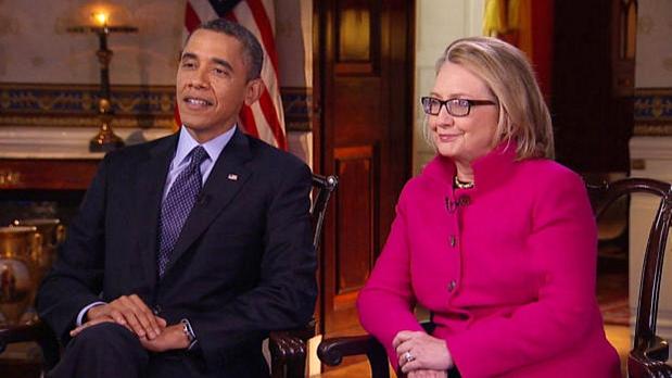 Barack Obama e Hillary Clinton durante entrevista conjunta, na rede CBS