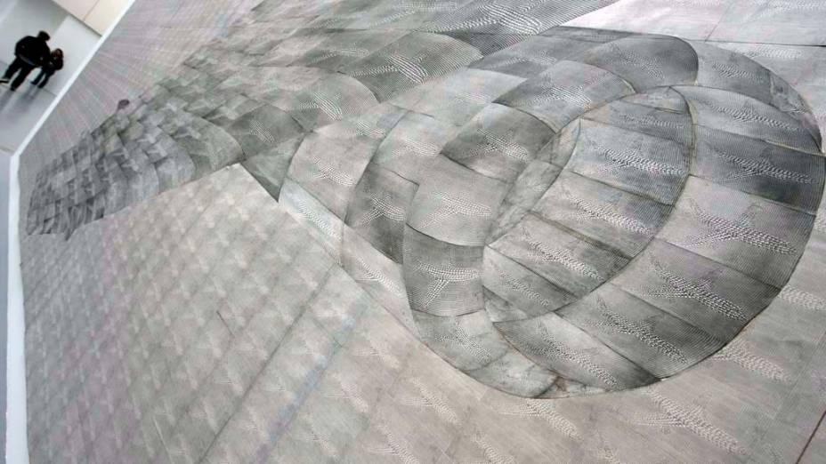 """Detalhes da obra """"Flugzeug"""" de Thomas Bayrle na exposição """"dOCUMENTA (13)"""" em Kassel, Alemanha"""