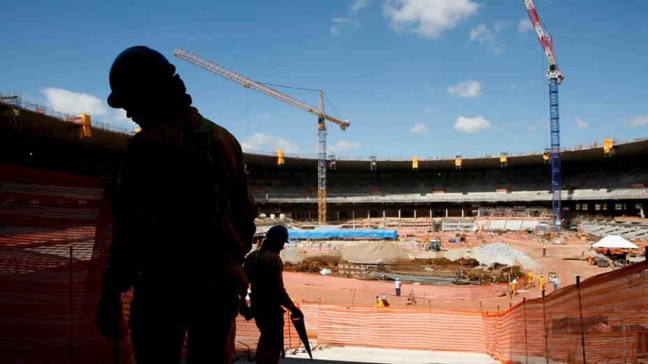 Obras no estádio do Mineirão, em Belo Horizonte