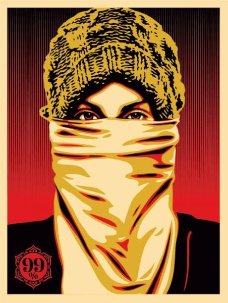 Baseada na foto de Ted Soqui, aqui Shepard Fairey declara seu apoio ao movimento Ocupe Wall Street