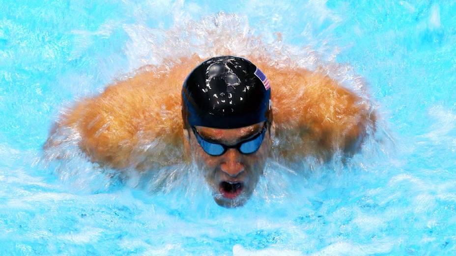O nadador americano Michael Phelps durante eliminatória dos 200m borboleta no Centro de Esportes Aquáticos, em 30/07/2012