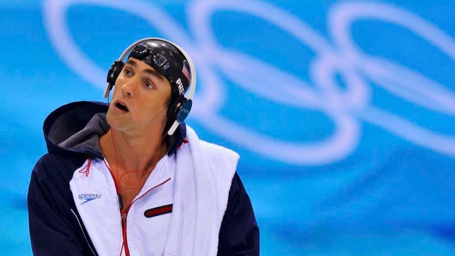 Michael Phelps antes de competir nos 200m borboleta, em 31/07/2012