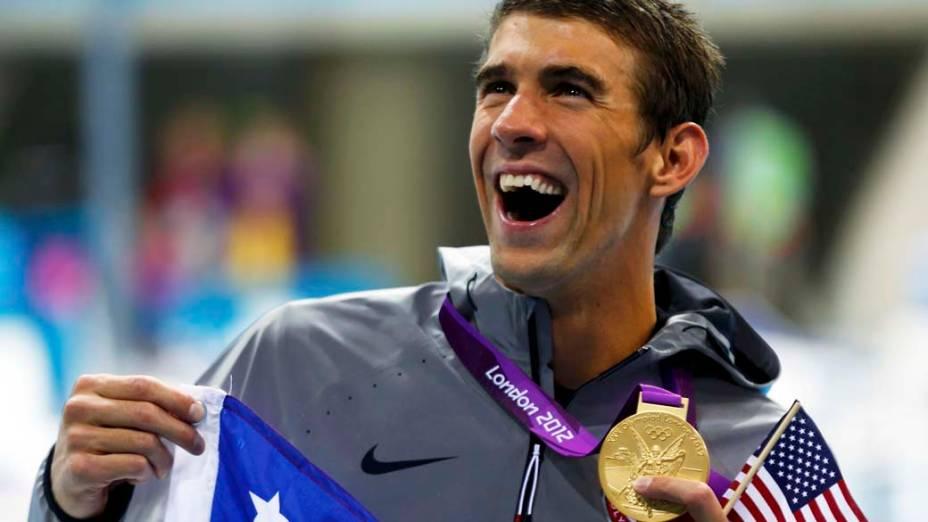Michael Phelps, medalha de ouro no revezamento 4x200m livre, em 31/07/2012