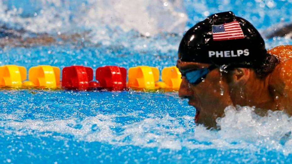 O americano Michael Phelps durante prova de revezamento 4x100m medley nas Olimpíadas de Londres, em 08/04/2012