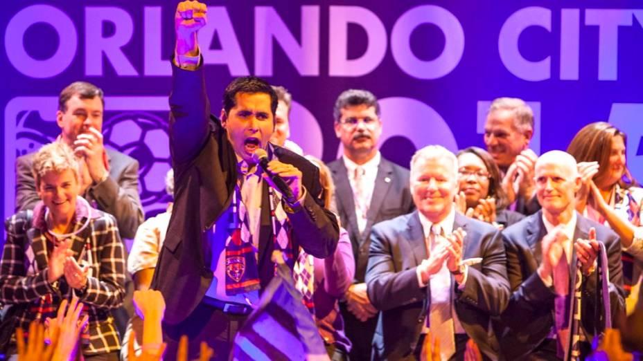 Flávio Augusto da Silva, dono do Orlando City, na festa pela entrada do clube na MLS