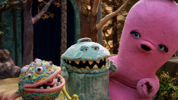 Os personagens Dedé, Gorgo e Luisa, da série Que Monstro Te Mordeu?, da TV Cultura