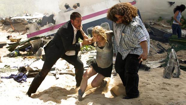 Os personagens Jack (Matthew Fox), Claire (Emilie de Ravin) e Hurley (Jorge Garcia) em 'Lost'