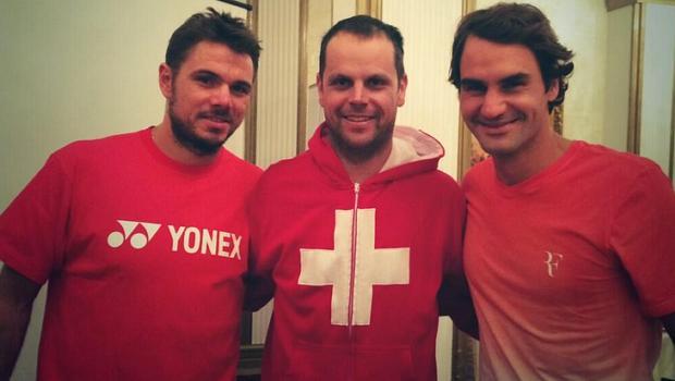 Os suíços Stanislas Wawrinka, Severin Luthi e Roger Federer