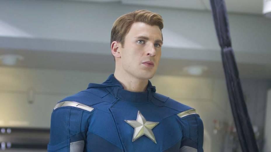 Capitão América é interpretado por Chris Evans no filme Os Vingadores