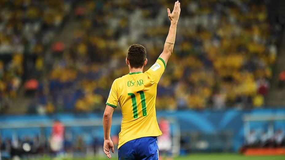 Oscar comemora gol contra a Croácia no Itaquerão, em São Paulo