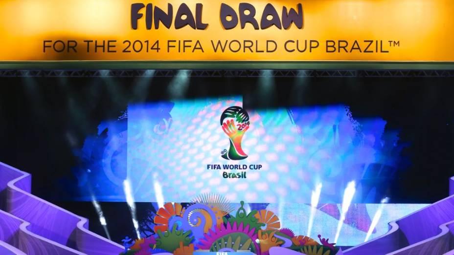 O palco do sorteio dos grupos da Copa de 2014, na Costa do Sauípe