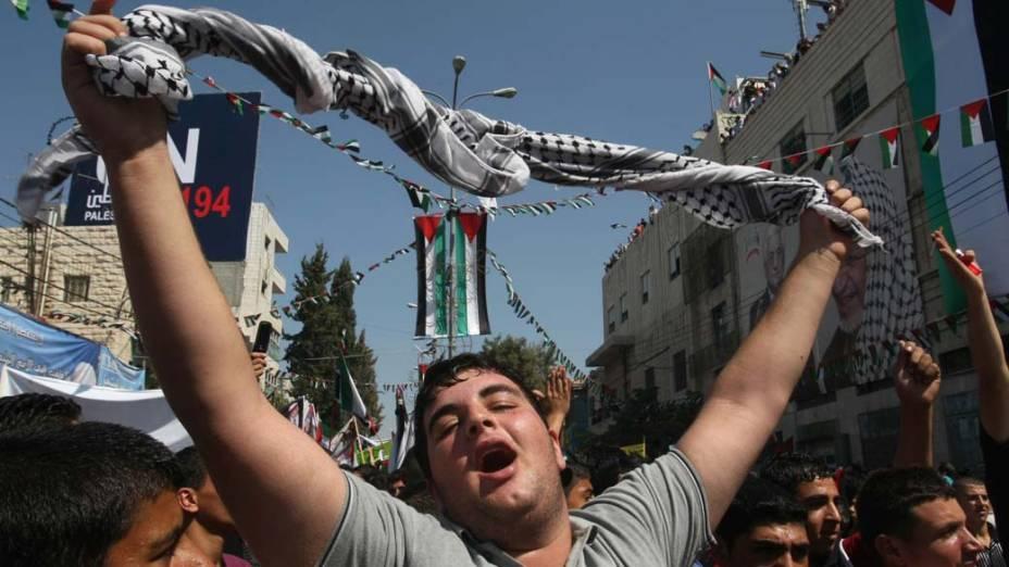 Em Hebron, Cisjordânia, palestinos pedem reconhecimento de um Estado Palestino pelas Nações Unidas