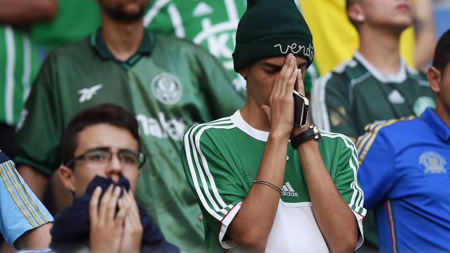 Torcida do Palmeiras em partida contra o Atlético-PR, válida pela última rodada do Campeonato Brasileiro 2014, no Allianz Parque, na zona oeste de São Paulo, neste domingo