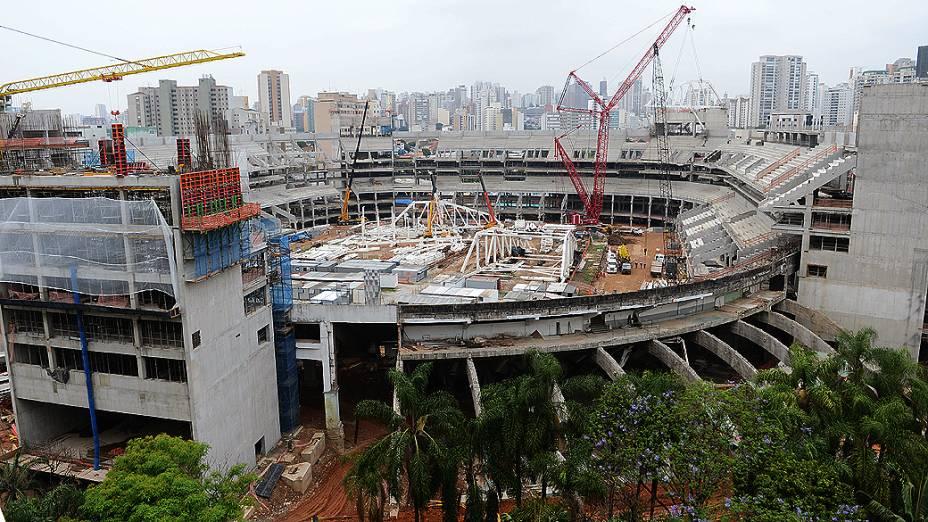 Obras do novo estádio do Palmeiras, em São Paulo