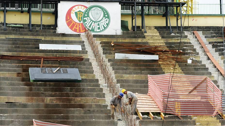 Obras da Arena Palestra Itália, o novo estádio do Palmeiras, em São Paulo