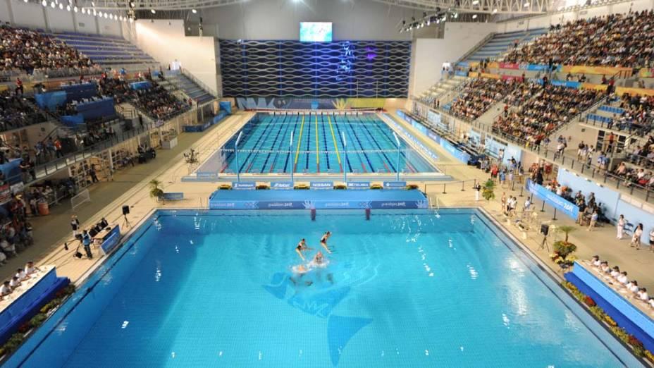 Vista geral do centro aquático durante rotina técnica da qualificação do nado sincronizado, no quinto dia dos Jogos Pan-Americanos em Guadalajara, México, em 19/10/2011