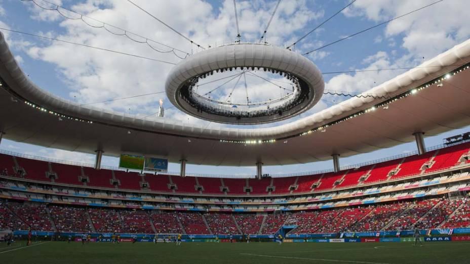 """Vista geral do estádio """"Omnilife"""" durante jogo de qualificação de futebol entre Brasil e Argentina, no quinto dia dos Jogos Pan-Americanos em Guadalajara, México, em 19/10/2011"""