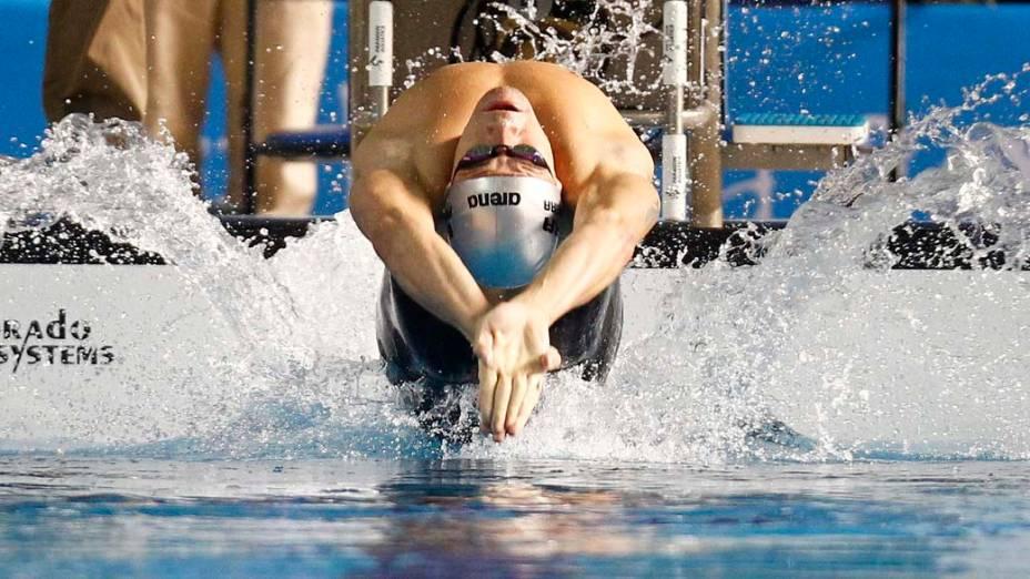 O brasileiro Thiago Pereira nos 200m nado costas, no sétimo dia dos Jogos Pan-Americanos em Guadalajara, México, em 21/10/2011