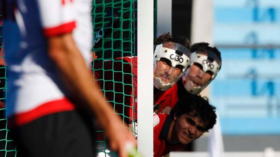 Partida de Hóquei entre Chile e Canadá, no oitavo dia dos Jogos Pan-Americanos em Guadalajara, México, em 22/10/2011