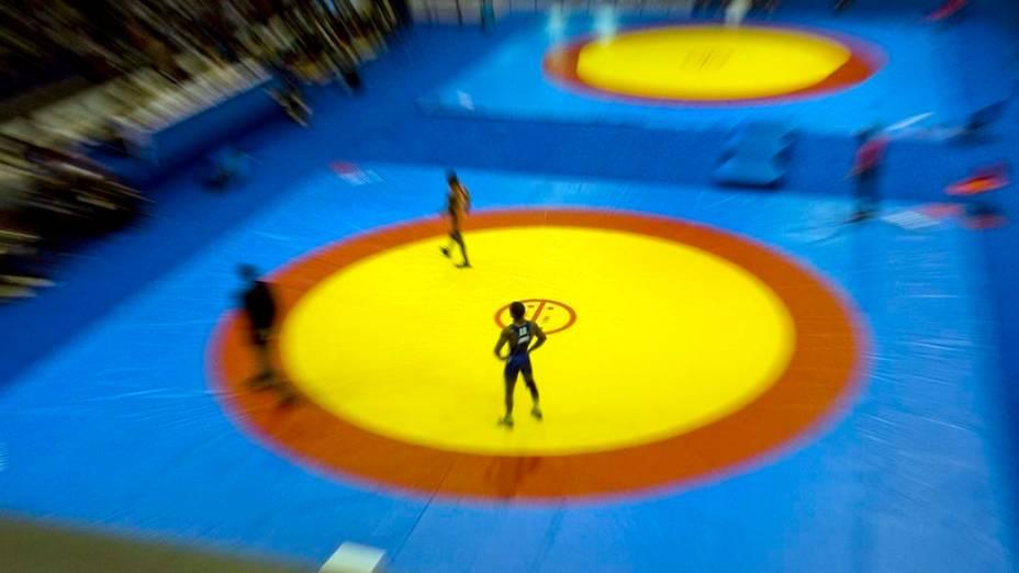Competição de luta greco-romana, no nono dia dos Jogos Pan-Americanos em Guadalajara, México, em 23/10/2011