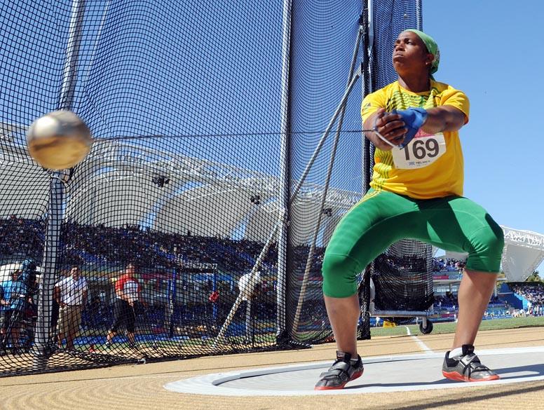 A jamaicana Natalie Grant durante prova de arremesso de peso, no décimo dia dos Jogos Pan-Americanos em Guadalajara, México, em 24/10/2011