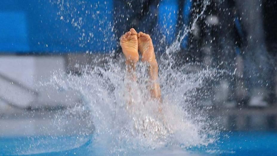 A colombiana Carolina Murillo durante salto de plataforma, no décimo segundo dia dos Jogos Pan-Americanos em Guadalajara, México, em 26/10/2011