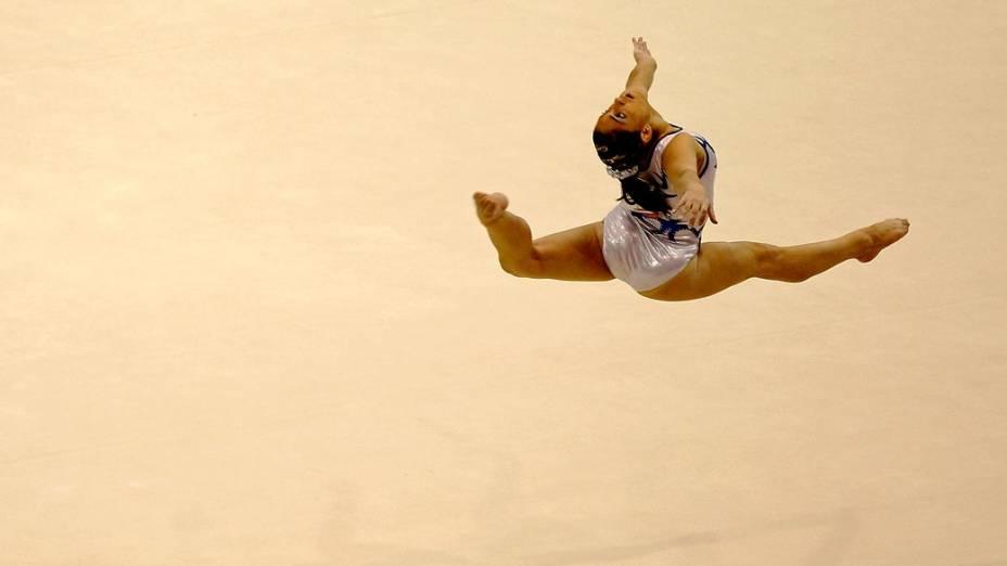 A brasileira Daniele Hypolito durante solo de ginástica, no décimo segundo dia dos Jogos Pan-Americanos em Guadalajara, México, em 26/10/2011