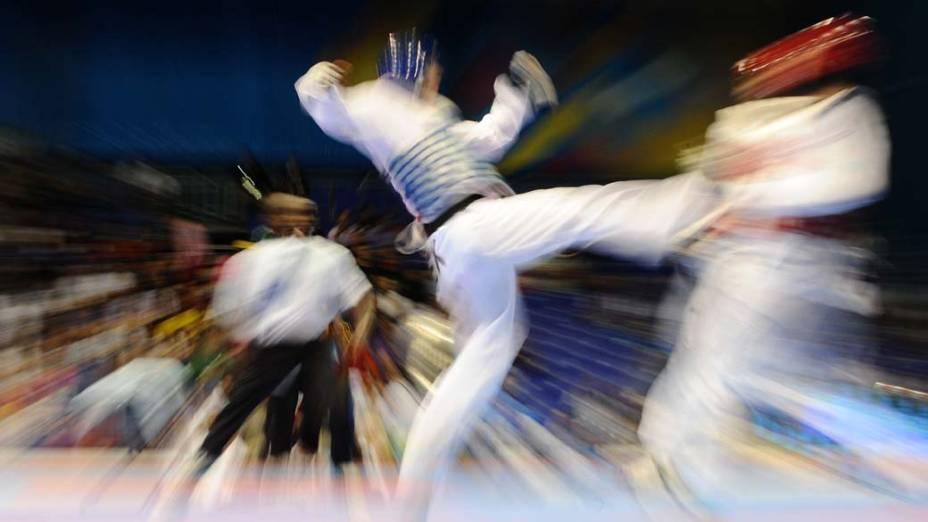 Competição de taekwondo, no quarto dia dos Jogos Pan-Americanos em Guadalajara, México, em 18/10/2011