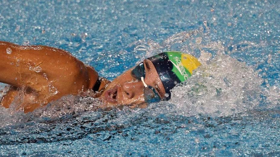 A brasileira Joanna Maranhão durante a competição dos 200m medley, no quarto dia dos Jogos Pan-Americanos em Guadalajara, México, em 18/10/2011