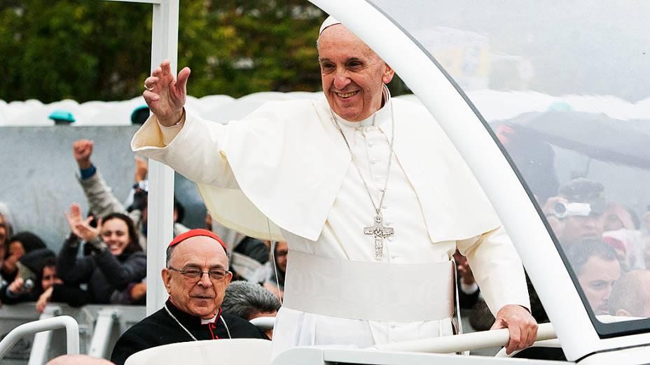 Papa Francisco após celebrar missa em Aparecida do Norte