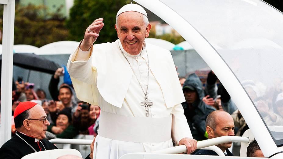 Papa Francisco após celebrar missa na Basílica de Nossa Senhora de Aparecida