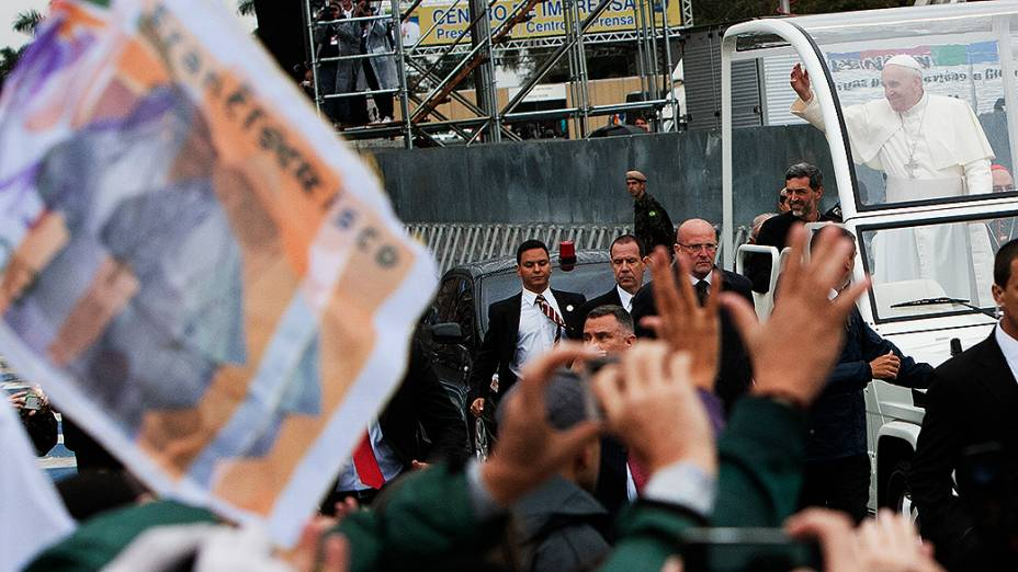 Papa Francisco durante a Jornada Mundial da Juventude, em Aparecida do Norte