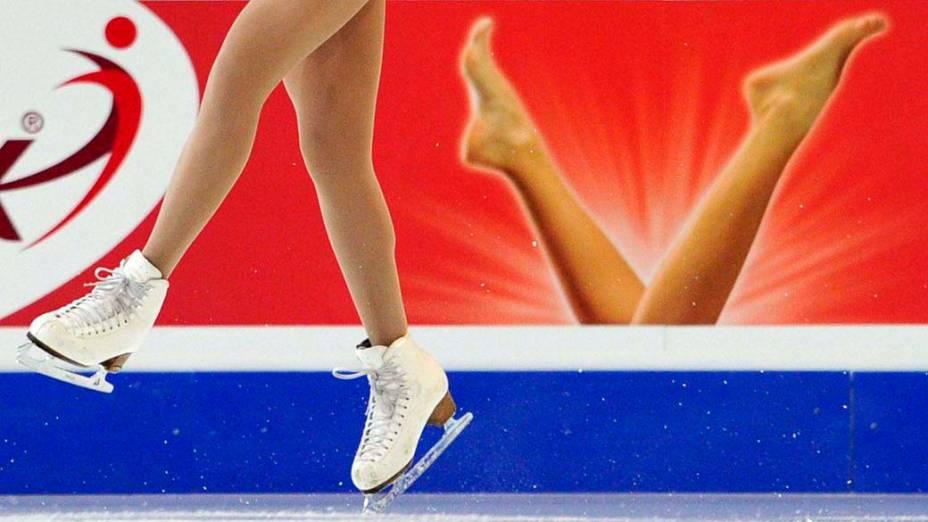 Patinadora participa da competição livre durante o Campeonato Europeu de Patinação Artística, Suíça