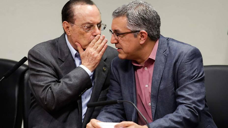 O candidato a governador de São Paulo, Alexandre Padilha e o presidente do Partido Progressista (PP), Paulo Maluf