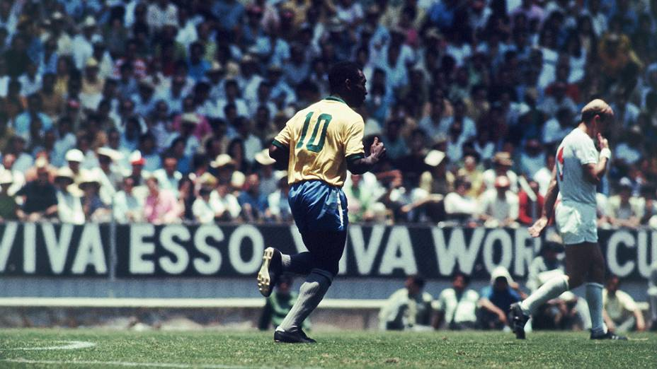 Pelé no jogo entreBrasil e Inglaterra, no Estádio Jalisco, na Copa do Mundo de 1970