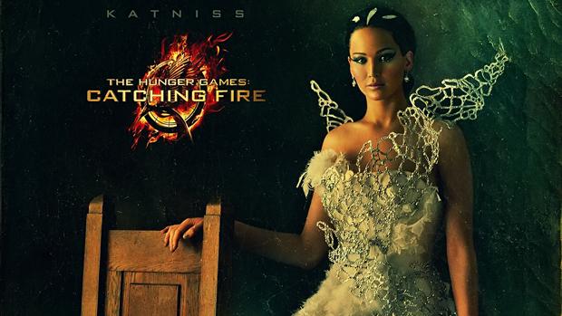 Personagem Katniss (Jennifer Lawrence), em cartaz do filme Jogos Vorazes: Em Chamas