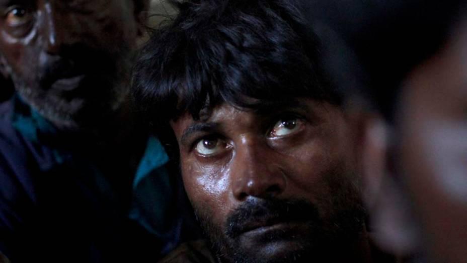 Pescador indiano em prisão de Karashi, Paquistão. Cerca de 36 pescadores indianos foram presos por navegarem ilegalmente no território paquistanês