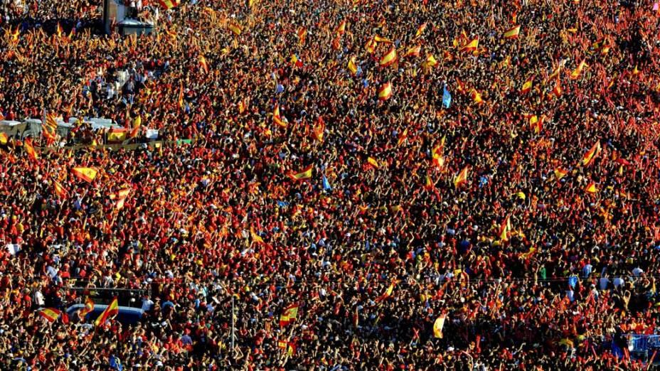 Espanhóis comemoram o título na Copa do Mundo de futebol de 2010