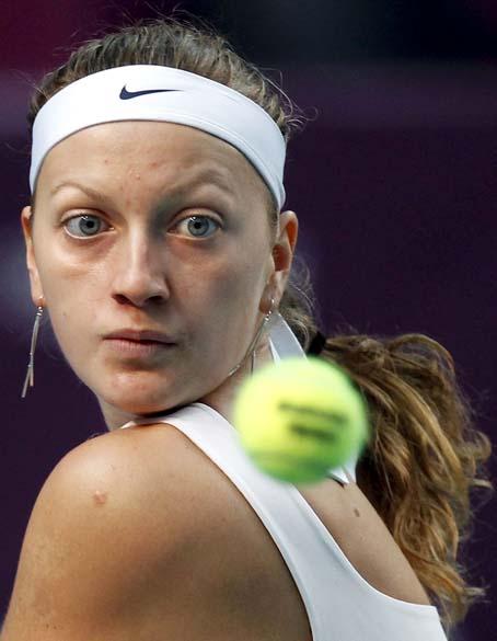 A tenista tcheca Petra Kvitova durante partida no Torneio de Tênis de Paris
