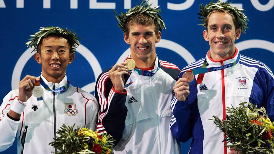 Michael Phelps ouro nos 200 borboleta em Atenas-2004