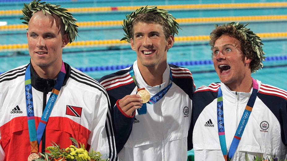 Michael Phelps ouro nos 200m medley em Atenas-2004