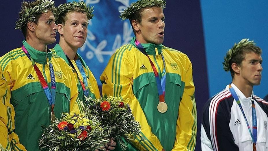 Bronze no 4x100m livre em Atenas-2004