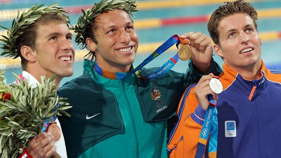 Michael Phelps foi bronze nos 200 m livre de Atenas-2004