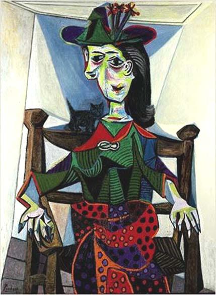 Pablo Picasso – <em>Dora Maar au chat</em>, 1941 - 162 milhões de reais - Comprador desconhecido. A obra 'Dora Maar e o Gato', da fase surrealista do pintor espanhol, foi feita em 1941, durante o casamento de Maar com Pablo Picasso. Foi dada como desaparecida durante a invasão nazista na França mas foi autenticada pela filha do artista, Maya Widmaier Picasso. Na época, especialistas em mercado de artes apontaram que o comprador era o milionário russo Boris Ivanishvili.